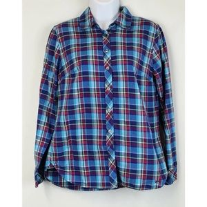 Talbots Plaid Button Down Shirt Sz S